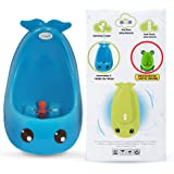 Joy Baby Generation II Boy Urinal Potty Toilet Training with FREE Potty Training Game (Solid Navy Blue Whale)