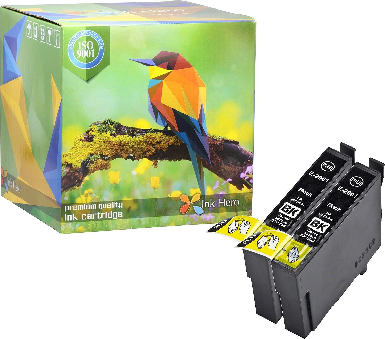 Ink Hero Cartridges 2 Black for Epson 200XL T200XL Expression Series XP-310 XP-200 XP-410 XP-300 XP-400 Workforce WF-2530 WF-2540 WF-2520 T200XL220 T200XL320 T200XL420 T2001 T2002 T2003 T2004 Ink.