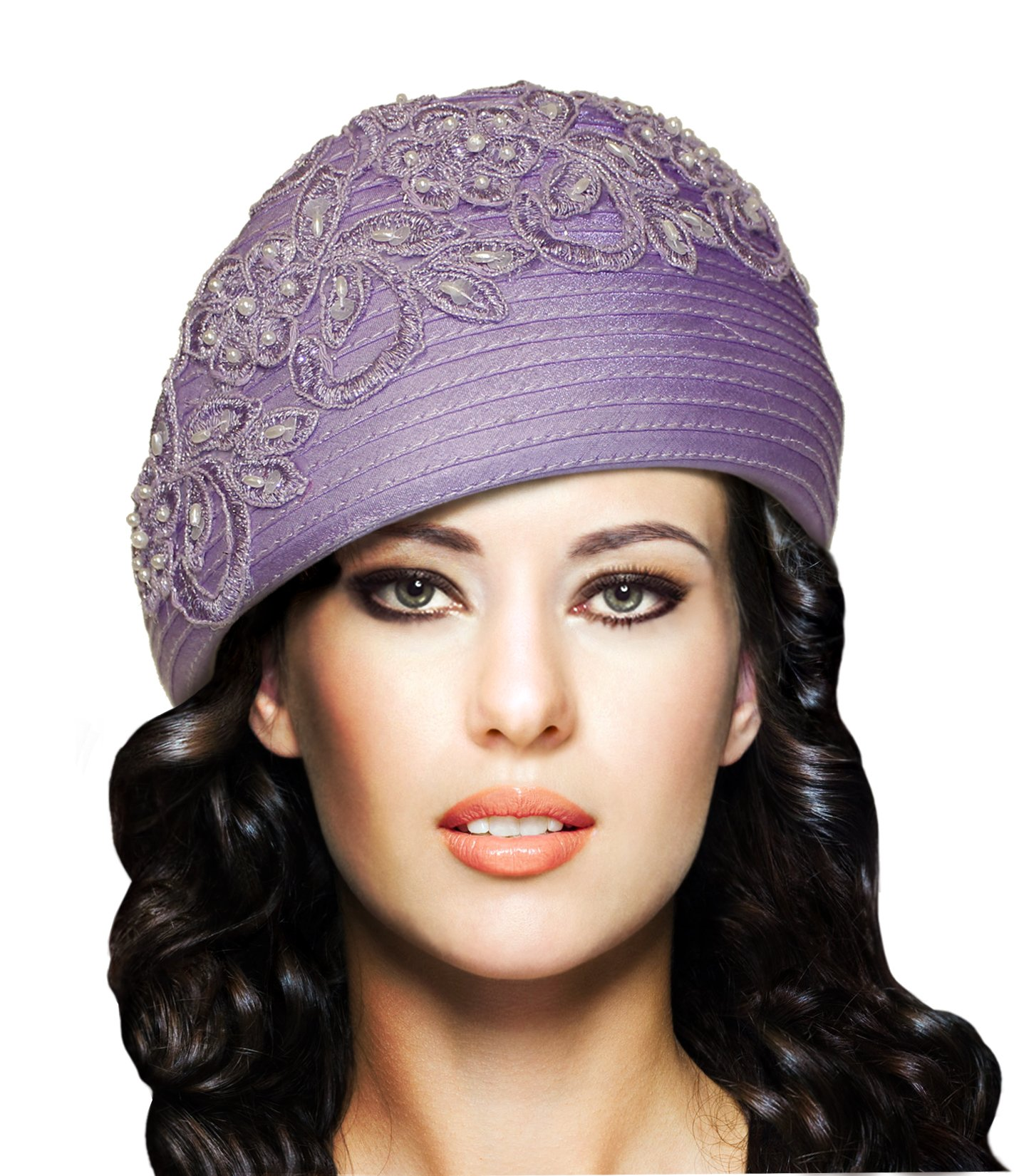 Mr. Song Millinery Beret Cloche Hat with Premium Lace - Q62 (Lavender) by Mr. Song Millinery