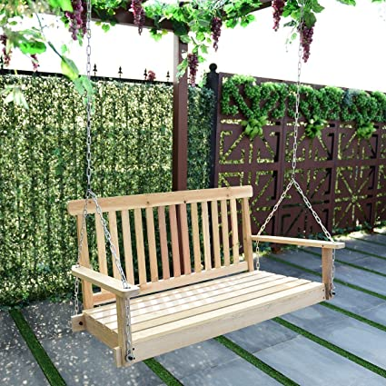 Bon 4 FT Porch Swing Natural Wood Garden Swing Bench Patio Hanging Seat Chains