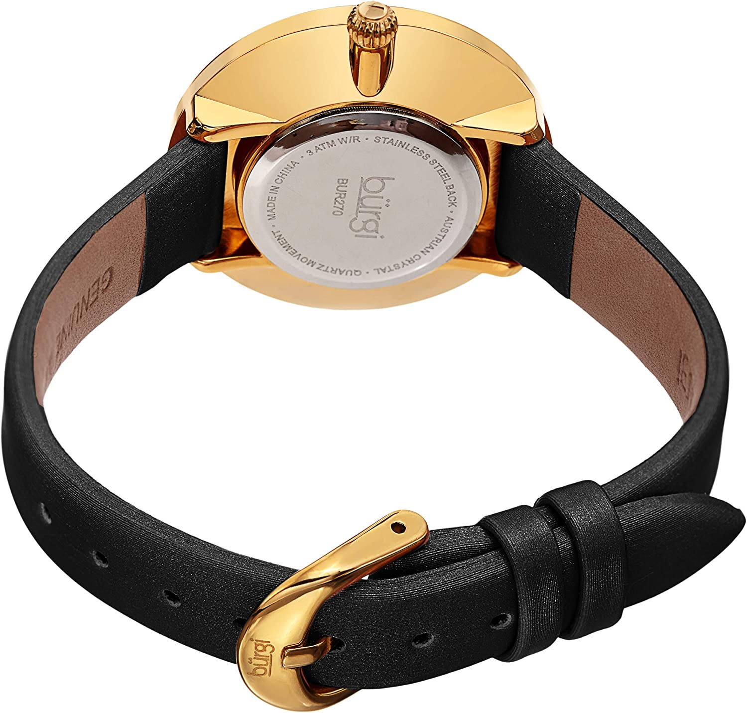 Burgi Swarovski Colored Crystal Watch - 4 Rows of Crystals On Bezel On Clear Sunray Dial On Satin Satin Strap - BUR270 Gold