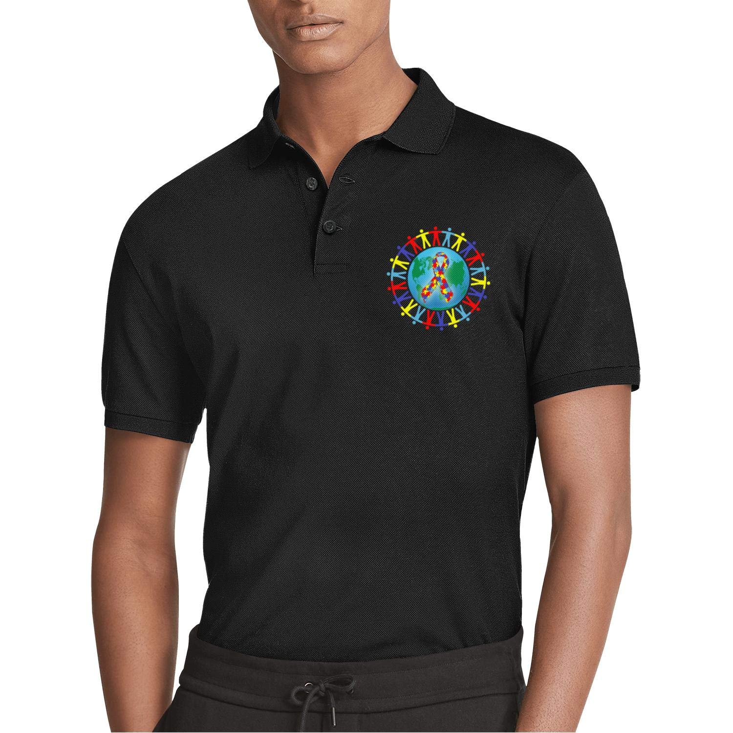 AIKYAN World Autism Awareness Day Hand in Hand Earth Printed Mens Polo Shirt Button Down Party Holiday Camp Beach