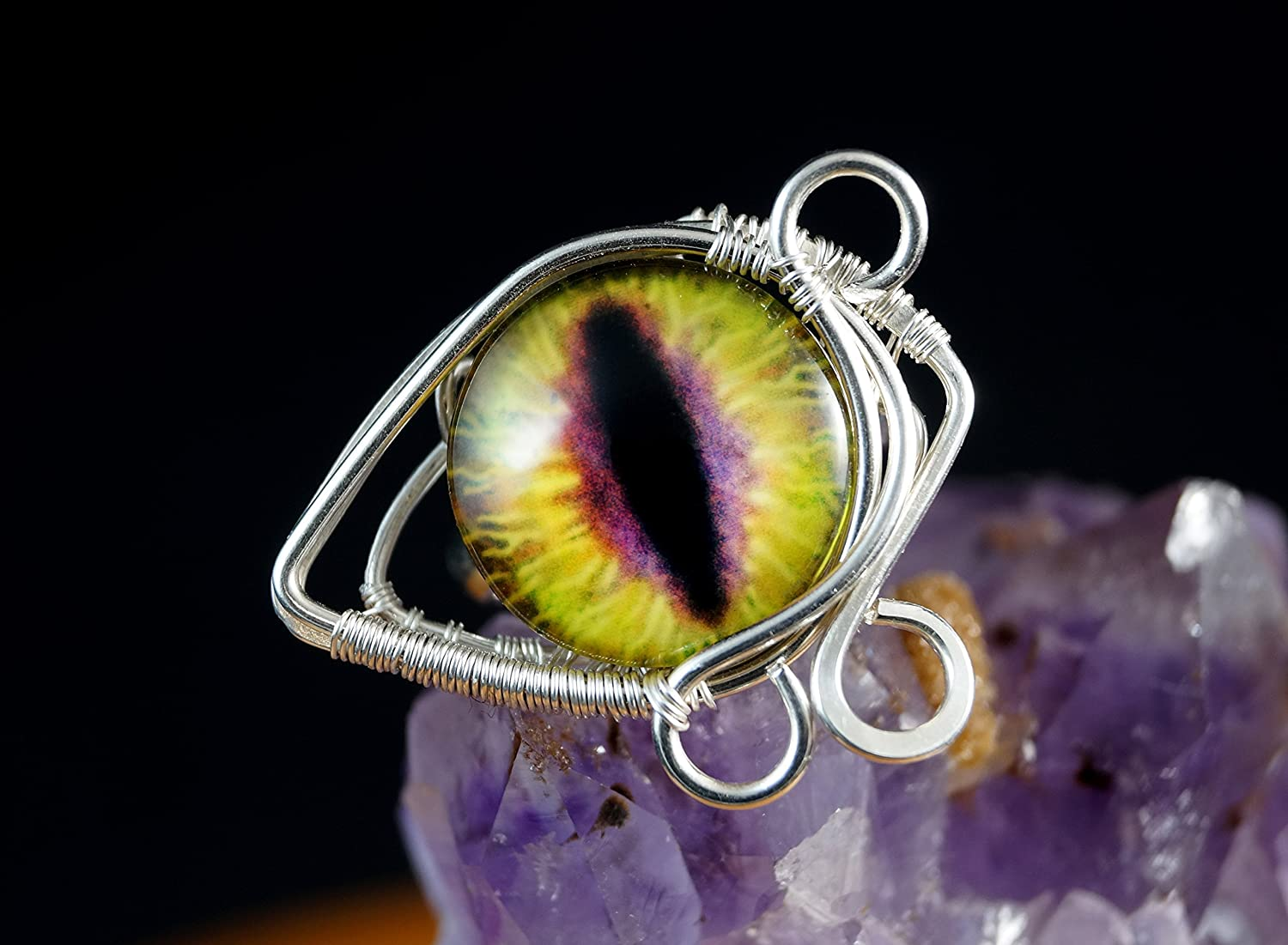 Yellow dragon eye Sterling Silver ring / wire wrapped / handmade
