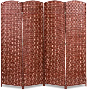 Room Divider, Brown Wood Frame 4 Panel Partition Folding Privacy Screen Free Standing Woven Rattan Tall Panel Divider Partition Wall Dividers for Home Office