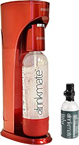 DrinkMate 410-03-3z Sparkling Water and Soda Maker, Carbonates ANY Drink, with 1L Re-usable BPA-free Carbonating Bottle, 3 oz (10L) CO2 Starter Cylinder and Patented Fizz Infuser, Small, Royal Red