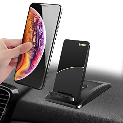 IPOW Car Phone Mount Holder Magnetic Phone Holder Dashboard Phone Holder with Super Sticky Gel Pad Hands Free Phone Holder for iPhone XR/XS Max/XS/X/8/8 Plus/7/7 Plus Galaxy S10/S10 Plus/S9/Note 9 etc