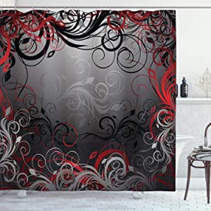 "Ambesonne Abstract Shower Curtain, Mystic Forest Floral Swirls Leaves Nature Fading Ombre Effect, Cloth Fabric Bathroom Decor Set with Hooks, 75"" Long, Charcoal Ruby"