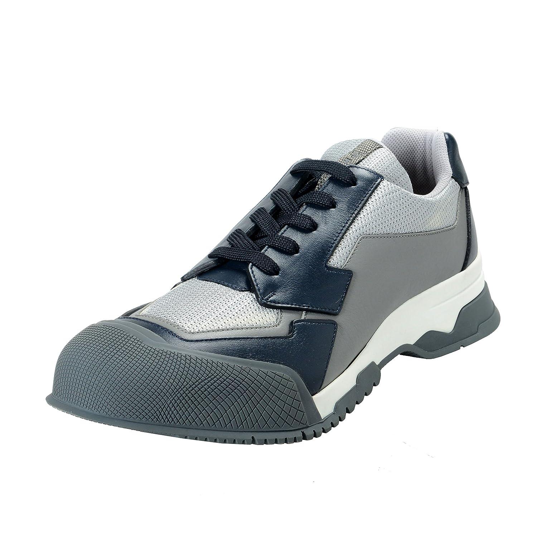 Prada メンズ レザー&キャンバスファッションスニーカーの靴 B07BVR5KK2