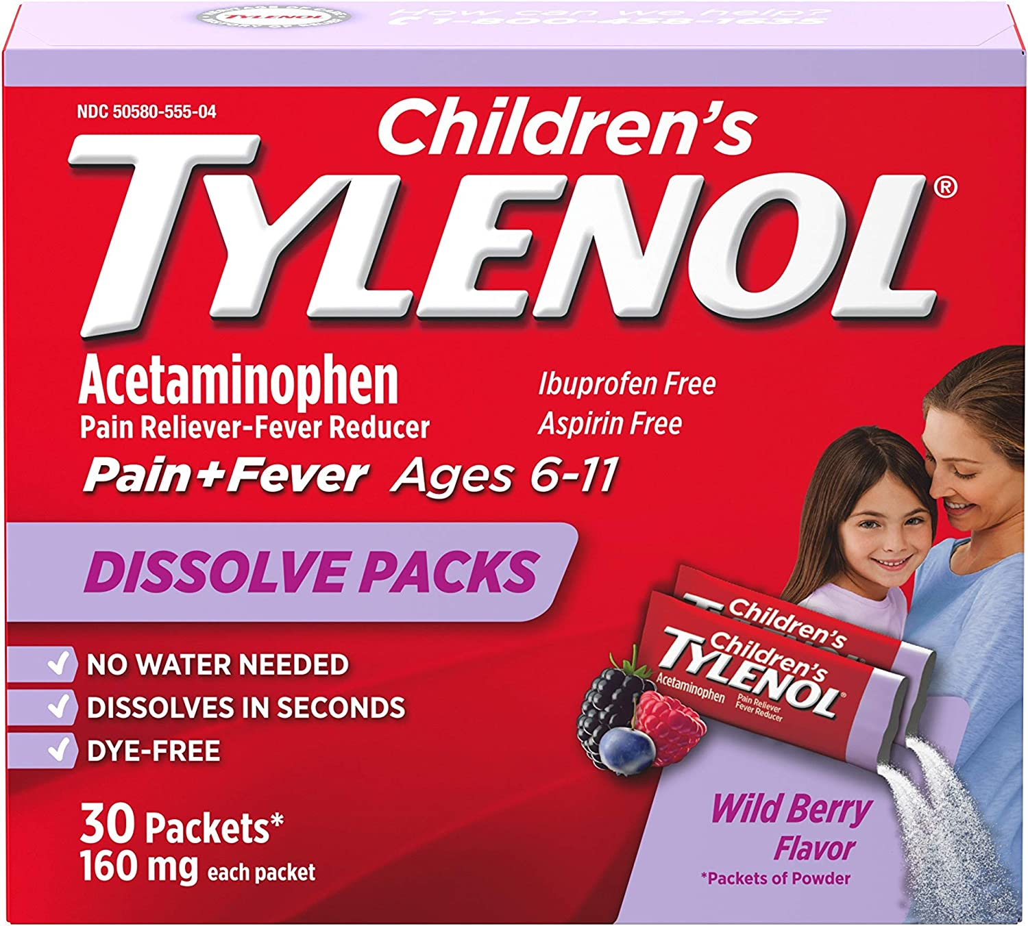 Tylenol Extra Strength Dissolve Packs with Acetaminophen for Pain & Fever, Berry, 32 ct