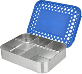 LunchBots Bento Cinco Large Stainless Steel Food Container - Five Section Design Holds a Well-Balanced Variety of Foods - Eco-Friendly Bento Lunch Box - Dishwasher Safe and BPA-Free - Blue Dots