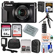 Canon PowerShot G7 X Mark II Wi-Fi Digital Camera Video Creator Kit + Canon Battery + Manfrotto Tripod, 32GB & 64GB Card + Case + Light + Charger Kit