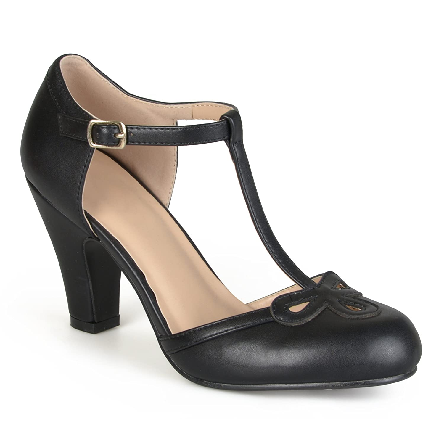 Vintage Inspired Halloween Costumes Brinley Cut Out Round Toe T-strap Matte Mary Jane Pumps $31.99 AT vintagedancer.com