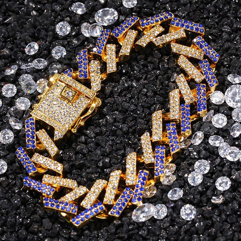 Bracelet Hip Hop pour Homme//Bracelet /à maillons cubains simul/és de Diamants simul/és de 8 Pouces