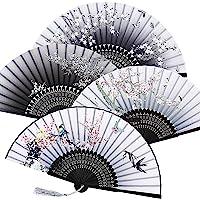 Hotop 2 Pièces Ventilateurs Pliables Ventilateurs Portatif Fans De Bambou avec Gland De Femmes Ventilateurs en Bambou Se Tenir La Main pour Décoration Murale, Cadeaux