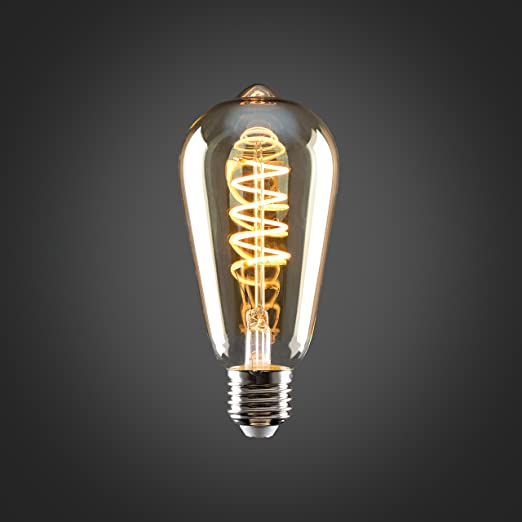 2200K Warm White/  Vintage Style LED Technology 4w ES E27 Unique Designer Style Amber Tinted Helix Filament Light Bulbs Energy Class A+ Pack of 5