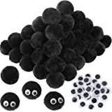 30 Pieces 2 Inch Acrylic Pom Poms Large Black Poms Snowman Costume Accessory with 100 Pieces Wiggle Googly Eyes for DIY…