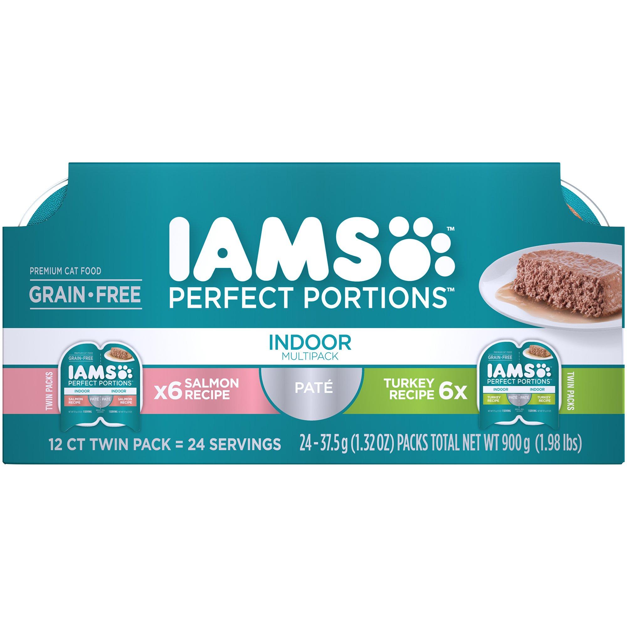 Iams Multipack Indoor Grain Free Wet Cat Food, Salmon and Turkey Pate, 2.6 oz. (24 Twin Packs)