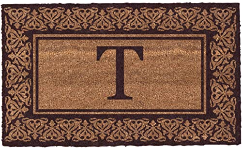 Coco Mats N More Brown Blooming Hearts Bordered Monogrammed Coco Doormat 22 x 36 with Vinyl Backing