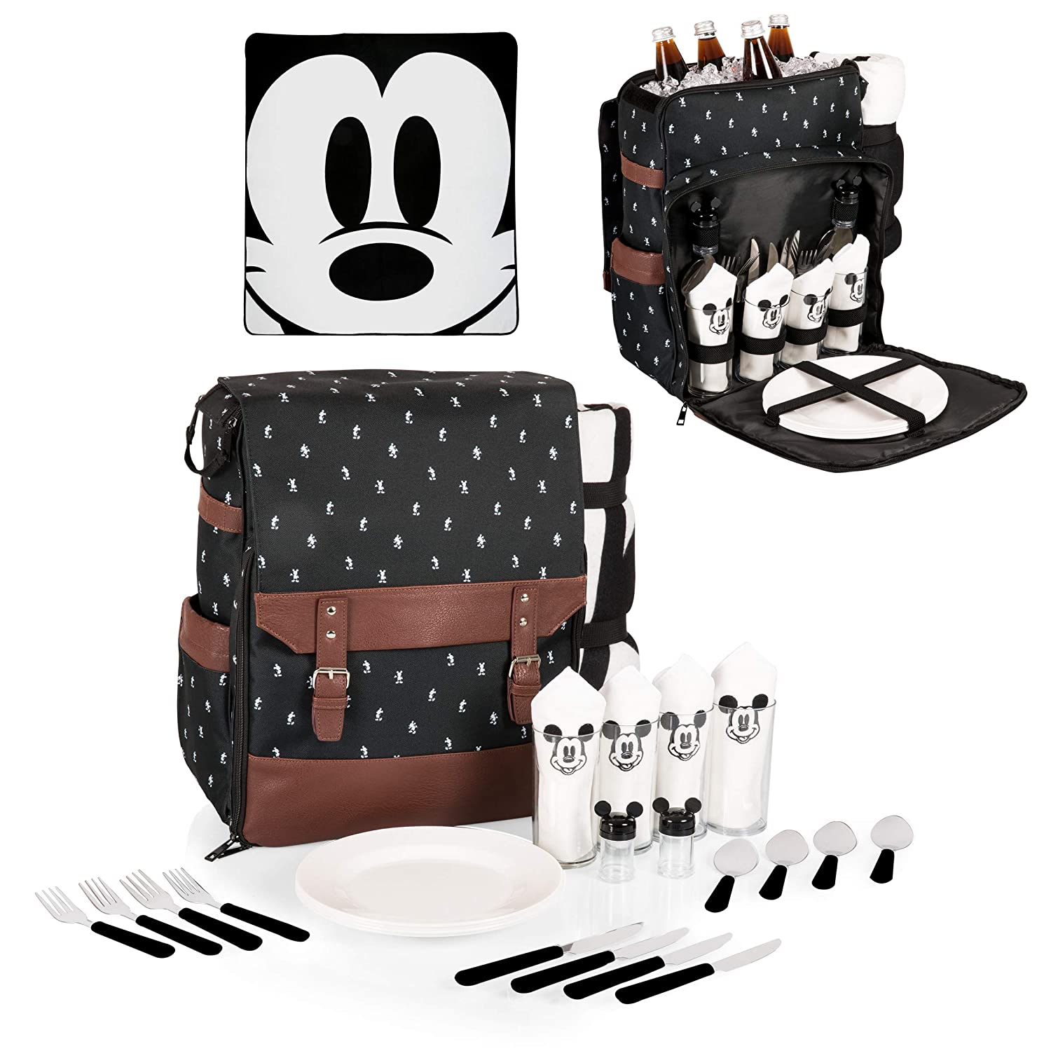 3ae5d612835 Amazon.com  Disney Classics Mickey Mouse Insulated Picnic Backpack with  Service for Four  Sports   Outdoors