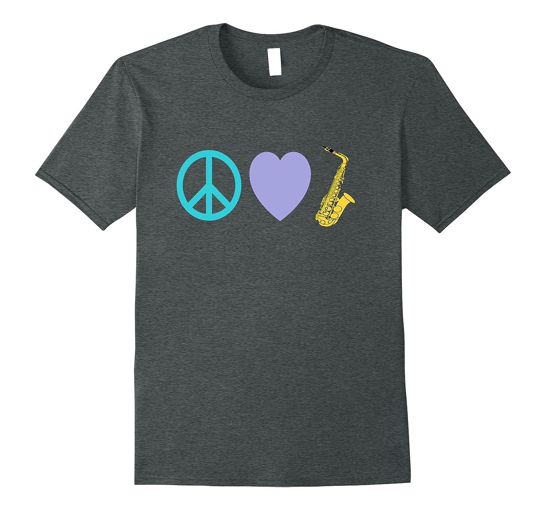 Peace Love Saxophone - Cute Colorful T-Shirt-Vaci