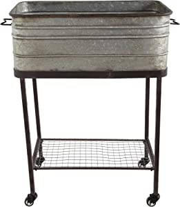 Creative Co-op Metal Bucket/Planter on Stand with Casters