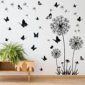 Dandelion Wall Stickers 3D Butterfly Mirror Wall Decals DIY Flower Wall Stickers Peel and Stick Removable Decal Wall Art Decor for Living Room Bedroom Classroom