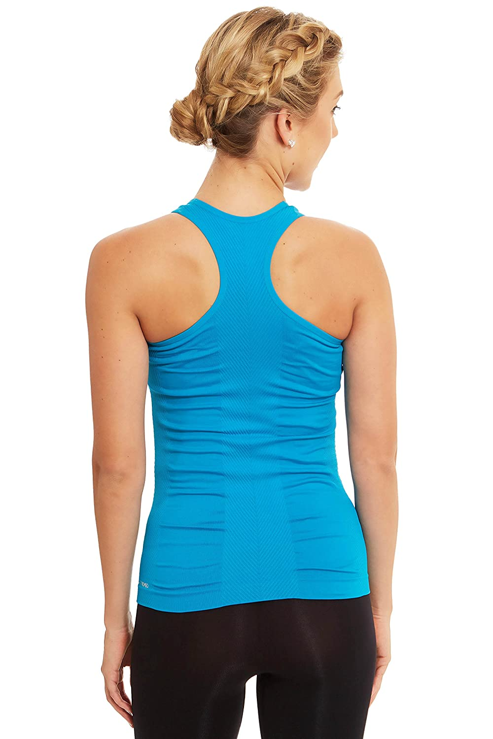 Sweet Romeo Active Womens Seamless Compression Tank Top Neon Azure