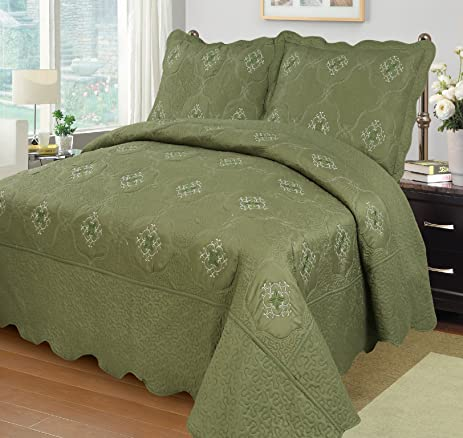 MarCielo 3 Piece Fully Quilted Embroidery Quilts Bedspreads Bed Coverlets  Cover Set, Olive Green