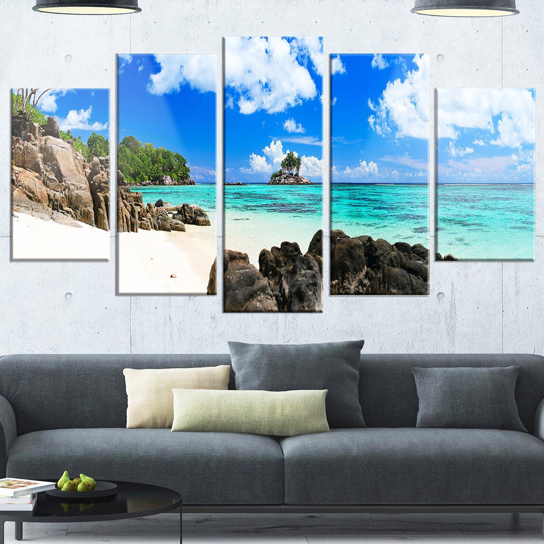 Designart Ideal Beach in Seychelles - Seascape Photo Glossy Metal Wall Art 60x32 bluee