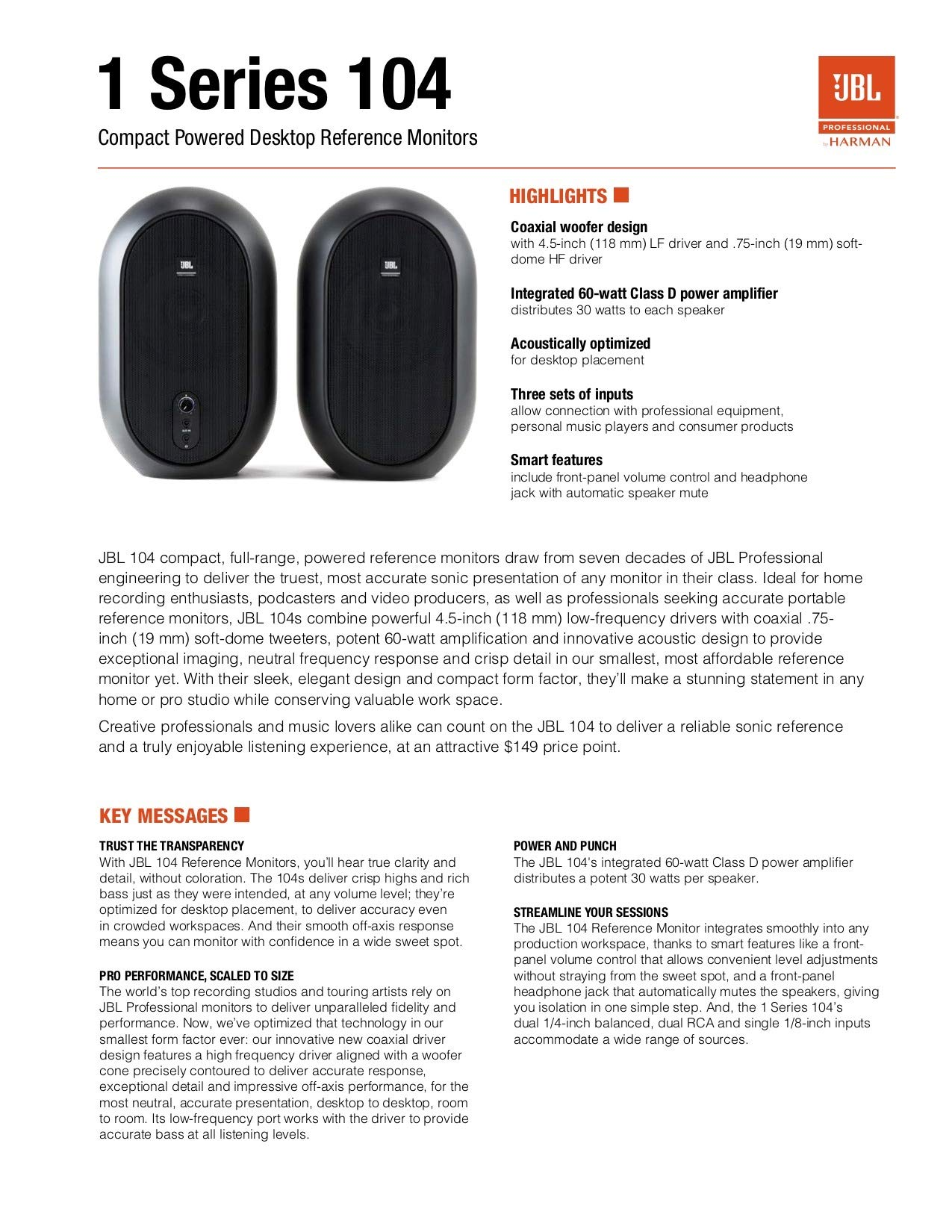 JBL Professional 1 Series, 104 Compact Powered Desktop Reference Monitors (sold as pair), Black (JBL104) by JBL Professional (Image #10)
