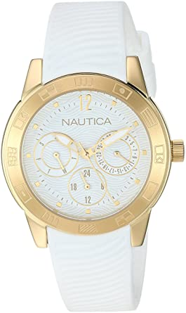 Nautica Men s  LONG BEACH COLLECTION  Quartz Stainless Steel and Silicone  Casual Watch 214b97bbd4