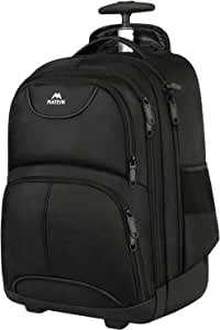Rolling Backpack, Matein Waterproof College Wheeled Travel Backpack,Carry-on Laptop Backpack Trolley Suitcase Compact Business Bag Student Computer Bag for Men Women fit 15.6 Inch Notebook,Black