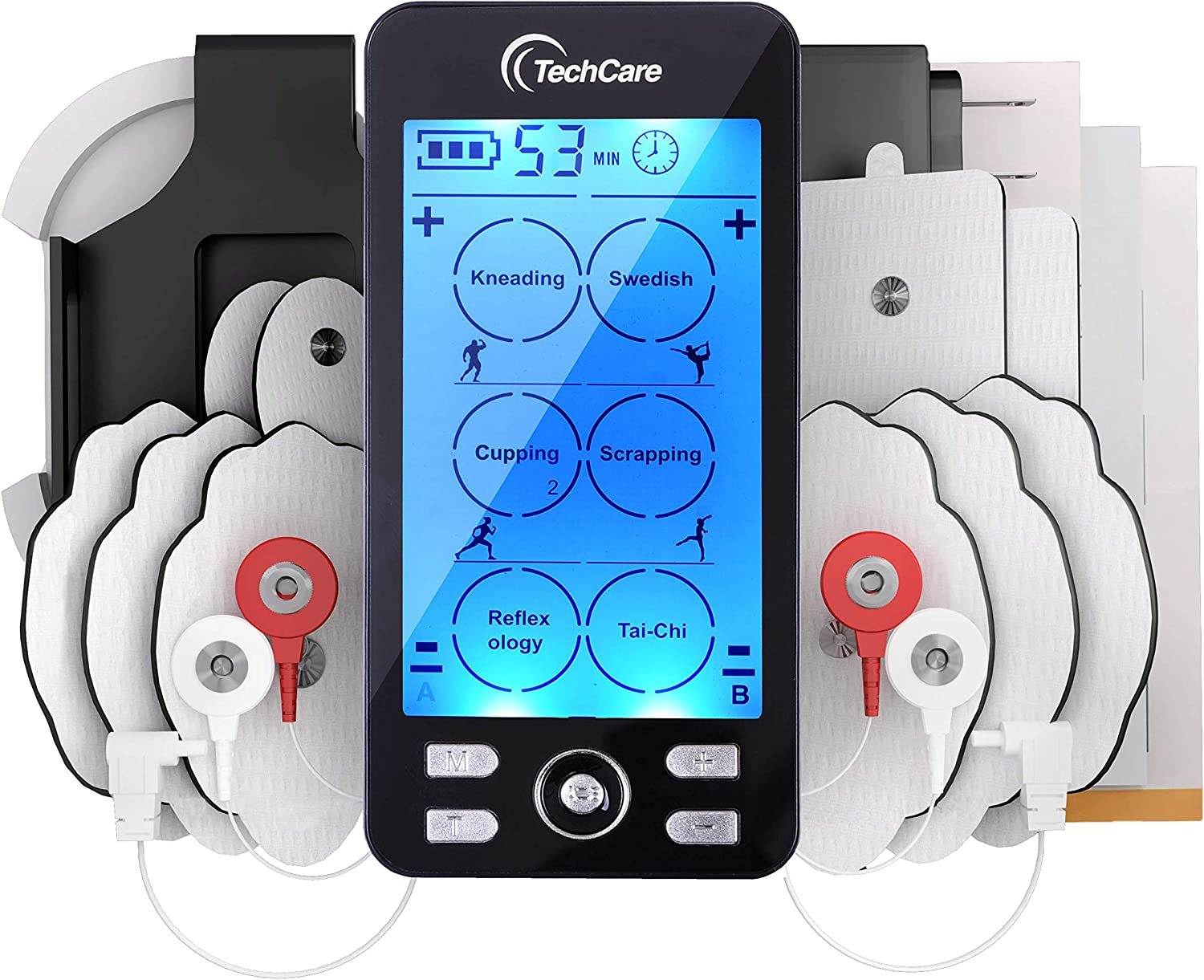 Tens Unit Plus 24 Rechargeable Electronic Pulse Massager Machine Multi Mode Device with All Accessories [New Model]