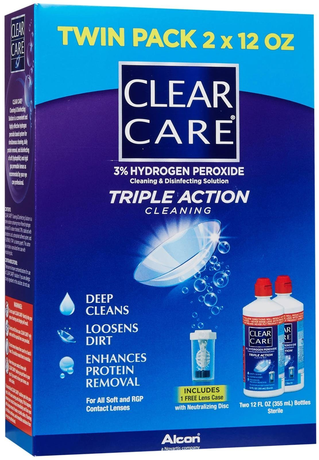 Clear Care Cleaning & Disinfection Solution-12 oz, Twin Value Pack