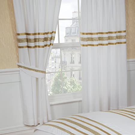 66quotx72quot Glitz White With Gold Trim Curtains Matching Tie Backs