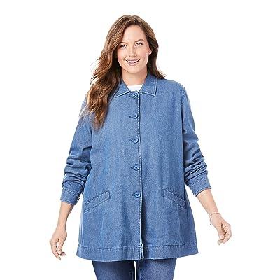 Woman Within Women's Plus Size Pleat-Back Denim Jacket at Women's Coats Shop