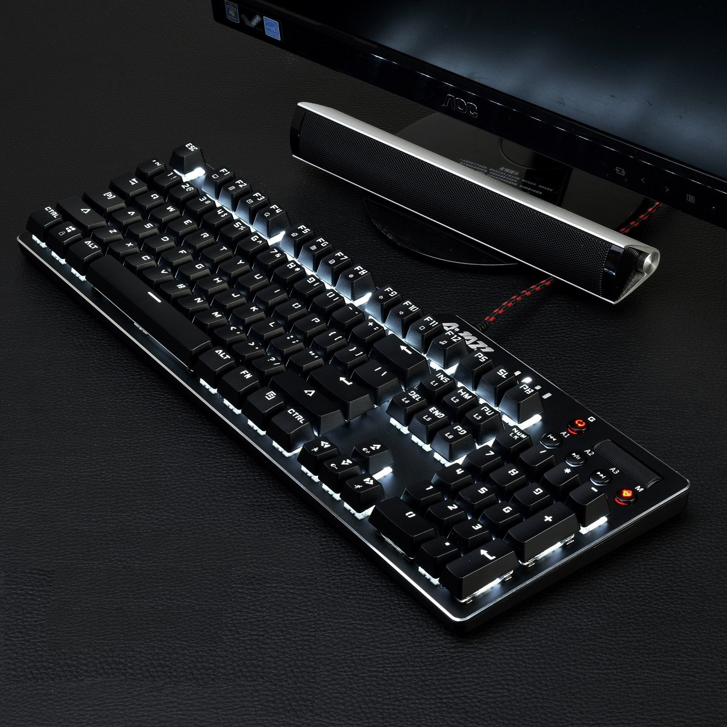 Ajazz AK35I Wired Mechanical Keyboard with Red Switches, White LED Backlit, Multimedia Keys Roller, Anti-ghosting Professional Gaming Keyboard, Black by FIRSTBLOOD ONLY GAME.