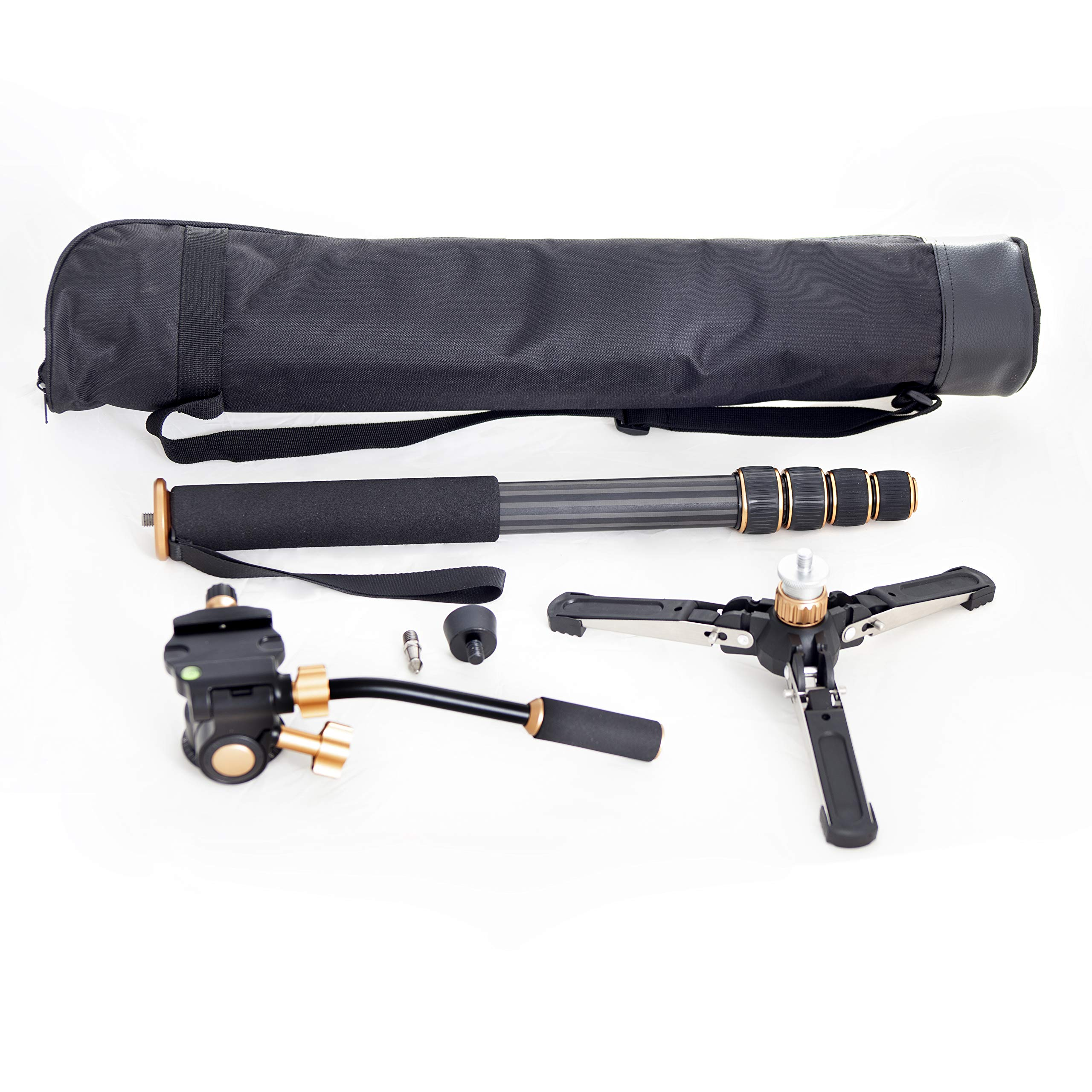 Professional Carbon Fiber Monopod Kit with Photo and Video 3-Way Head & Multi Direction Fluid Base for DSRL Cameras and Videocameras Pole Stick by Sensei Photo (Image #7)