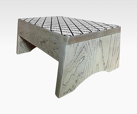 Wood Step Stool, FootStool by CW Furniture in Rustic White, Wooden, Bed, Custom, Grandma Gift, Grandparents Gift, Grandpa Gift, Handmade