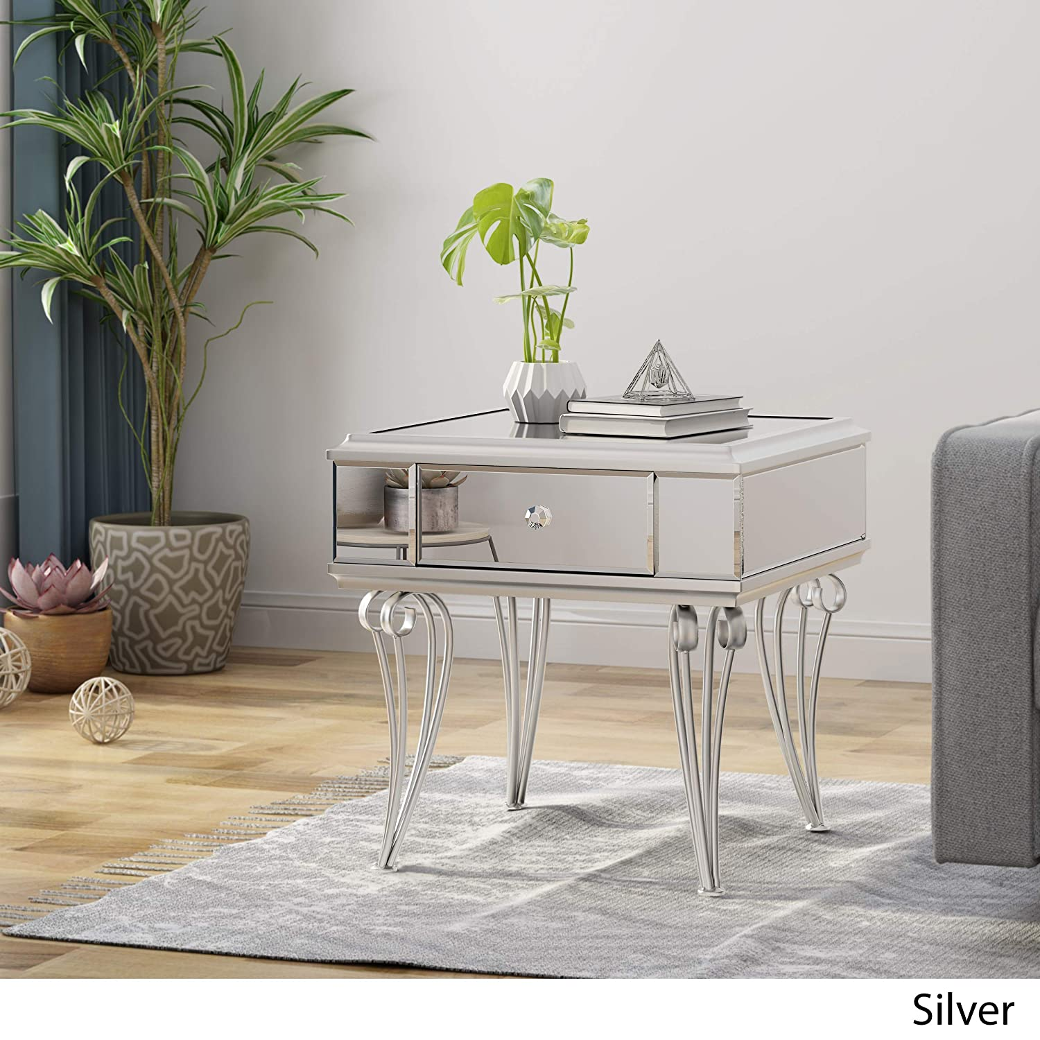 Great Deal Furniture 307441 Mamie Modern Mirrored Accent Table with Drawer, Tempered Glass, Silver Iron Frame,