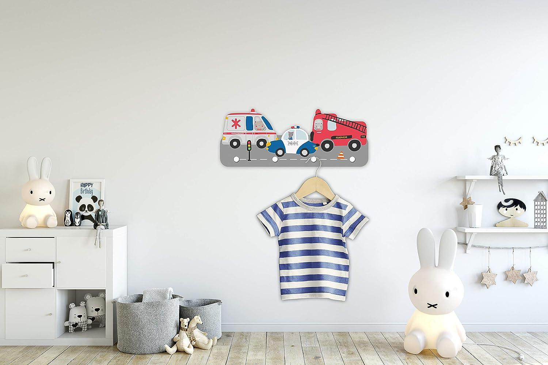 Kindsblick B/ären Kindergarderobe in Mintgr/ün Wundersch/öne Deko f/ür jedes Kinderzimmer Ma/ße Garderobe mit 4 Kleiderhaken f/ür Kinder 38 x 15 x 1 cm