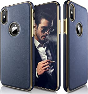 LOHASIC iPhone Xs Case, iPhone X Case Leather Slim & Thin Soft Flexible Body Luxury [Gold Electroplated] Bumper Anti-Slip Grip Scratch Resistant Protective Cover for iPhone X XS (2018) - Navy Blue