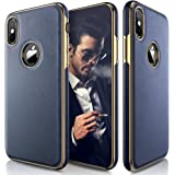 iPhone X Case, LOHASIC [Premium Leather] Slim & Thin Soft Flexible Body Luxury [Gold Electroplated] Bumper Anti-Slip Grip Scratch Resistant Protective Cover Cases for Apple iPhone X 10 - [Navy Blue]