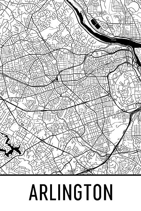 Amazon Com Arlington Print Arlington Art Arlington Map Arlington