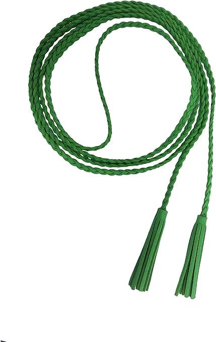 TALLA L. Nanxson Mujer Chicas Delgado Cintura Cuero Cadena Cuerda Cinturón Borlas PDW0042