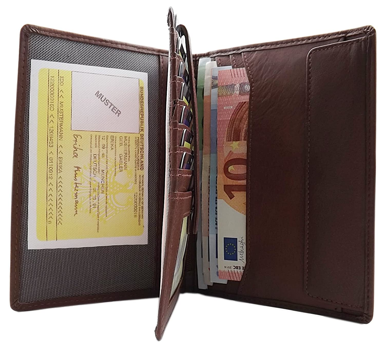 71b1e7dde38e5 Große Leder Brieftasche aus samtweichen Kalbsleder mit extra vielen Fächern  MJ-DESIGN-GERMANY (Braun)  Amazon.de  Bekleidung