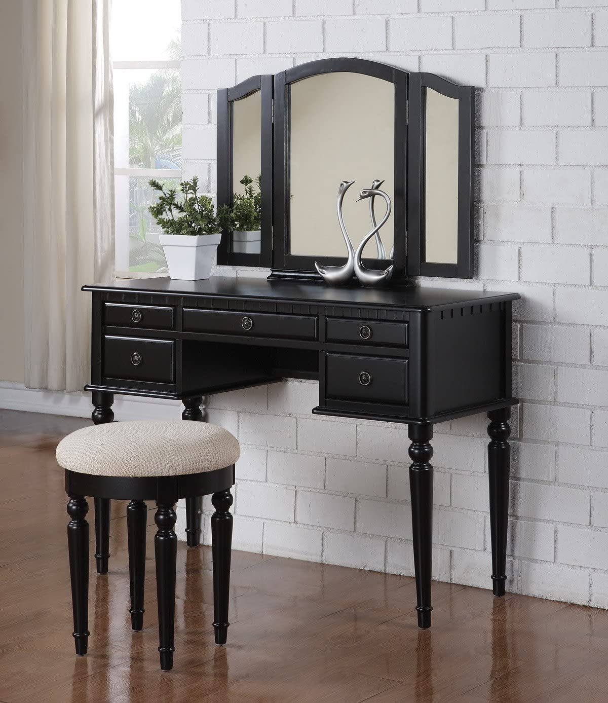 Five-drawers Black Finish Vantiy Table w Foldout Mirror Stool Vanity Set