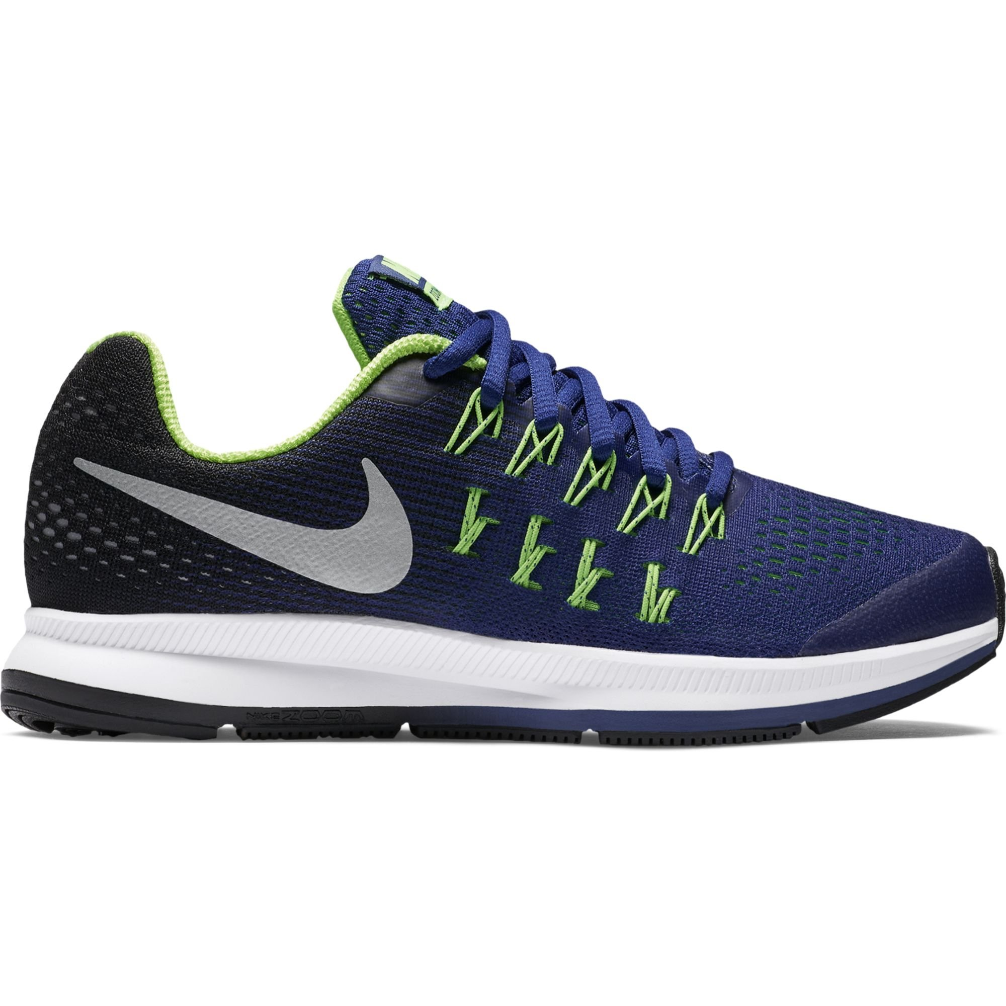 best loved d0507 651e4 Galleon - NIKE Boy s Zoom Pegasus 33 (GS) Running Shoe Deep Royal  Blue Black Green Silver Size 7 M US