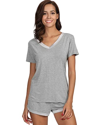 GYS Womens Soft V Neck Shorts Pajama Set at Amazon Women s Clothing ... 6cedc6b8b