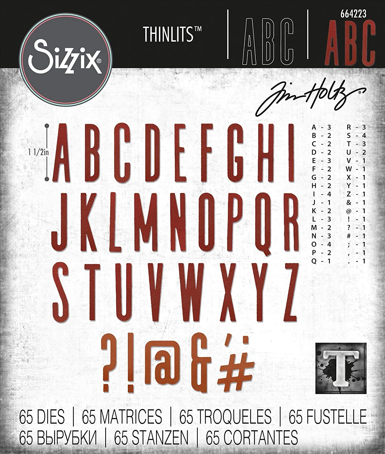 Sizzix 664223 Thinlits Die Set 65 Pack Alphanumeric Classic Upper Case by Tim Holtz, Multicolor